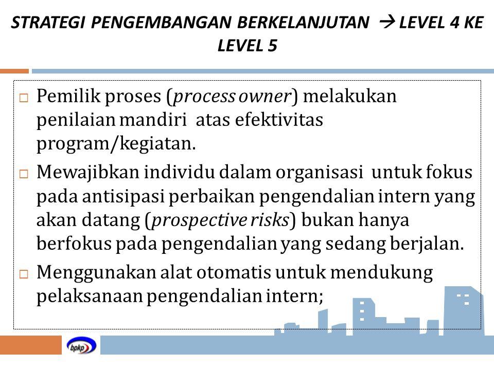 STRATEGI PENGEMBANGAN BERKELANJUTAN  LEVEL 4 KE LEVEL 5  Pemilik proses (process owner) melakukan penilaian mandiri atas efektivitas program/kegiata