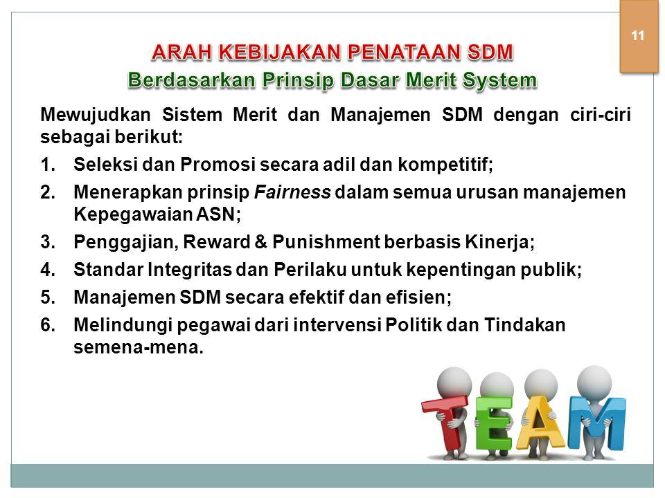 Mewujudkan Sistem Merit dan Manajemen SDM dengan ciri-ciri sebagai berikut: 1.Seleksi dan Promosi secara adil dan kompetitif; 2.Menerapkan prinsip Fairness dalam semua urusan manajemen Kepegawaian ASN; 3.Penggajian, Reward & Punishment berbasis Kinerja; 4.Standar Integritas dan Perilaku untuk kepentingan publik; 5.Manajemen SDM secara efektif dan efisien; 6.Melindungi pegawai dari intervensi Politik dan Tindakan semena-mena.