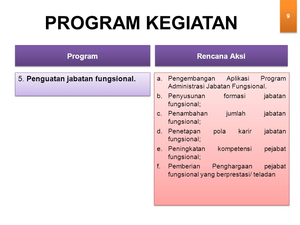 5. Penguatan jabatan fungsional.