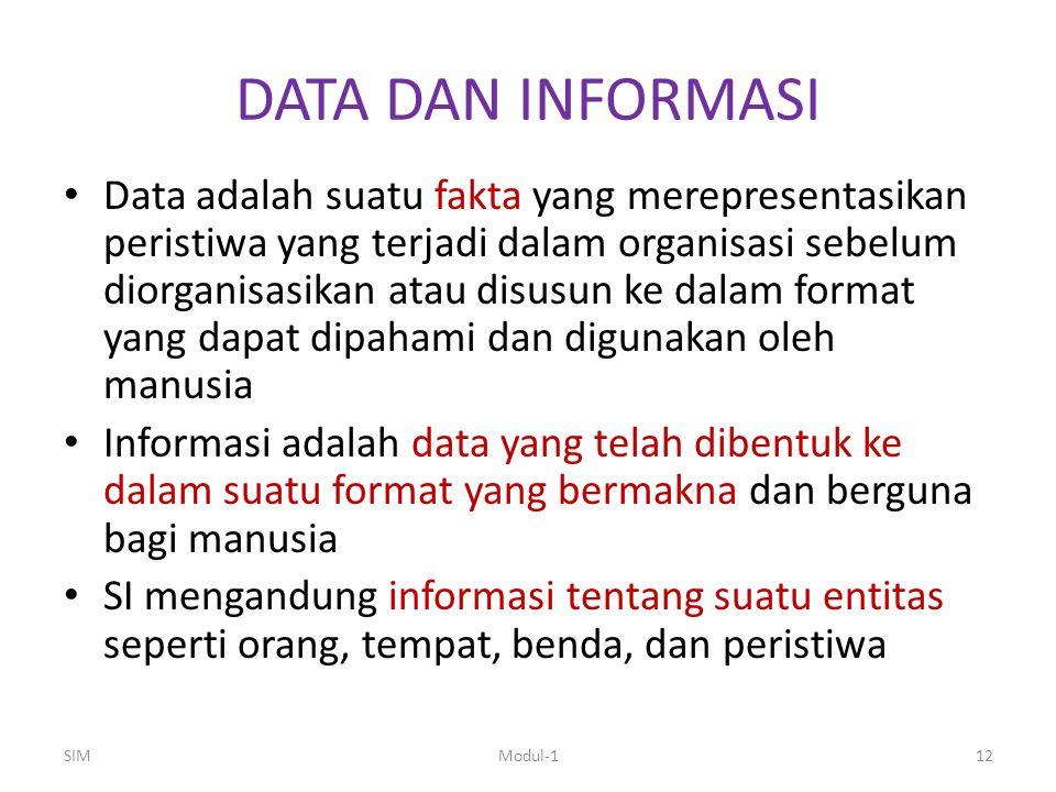 DATA DAN INFORMASI Data adalah suatu fakta yang merepresentasikan peristiwa yang terjadi dalam organisasi sebelum diorganisasikan atau disusun ke dala