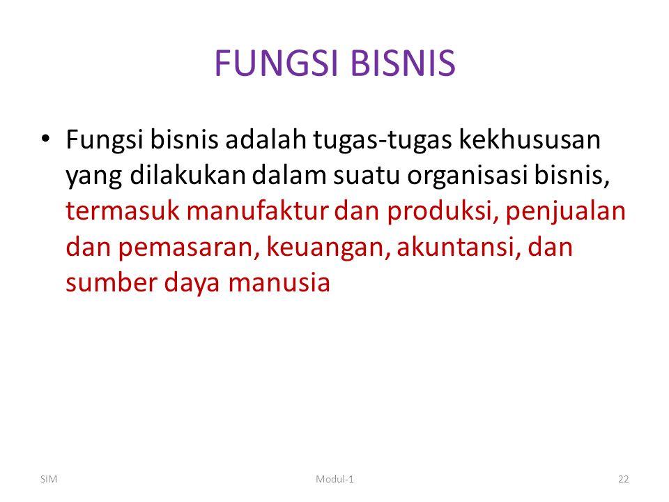 FUNGSI BISNIS Fungsi bisnis adalah tugas-tugas kekhususan yang dilakukan dalam suatu organisasi bisnis, termasuk manufaktur dan produksi, penjualan da