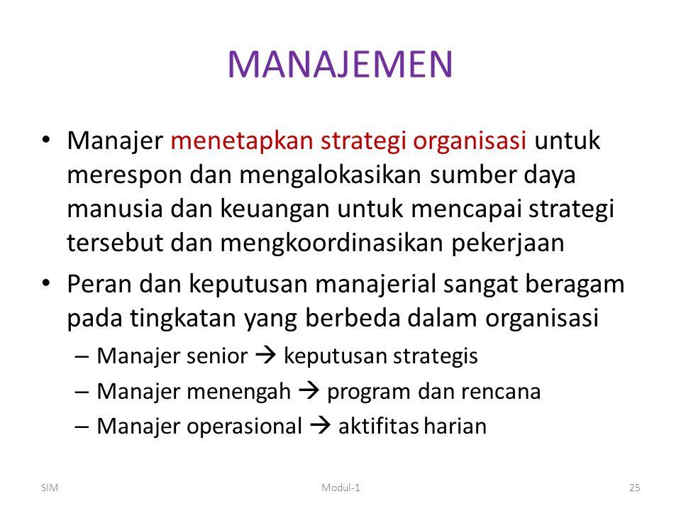 MANAJEMEN Manajer menetapkan strategi organisasi untuk merespon dan mengalokasikan sumber daya manusia dan keuangan untuk mencapai strategi tersebut d