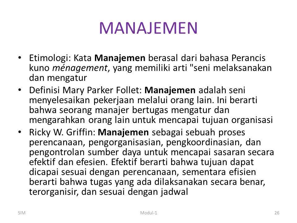 MANAJEMEN Etimologi: Kata Manajemen berasal dari bahasa Perancis kuno ménagement, yang memiliki arti