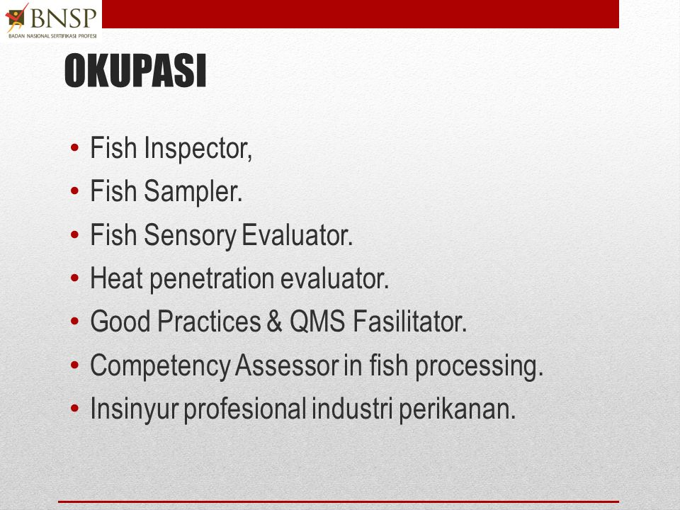 Skema sertifikasi OKUPASI Skema Sertifikasi Kualifikasi Okupasi Nasional SKKNI 6 SKKNI 3 SKKNI 7 SKKNI 4 + Pre- requisites SKKNI 6