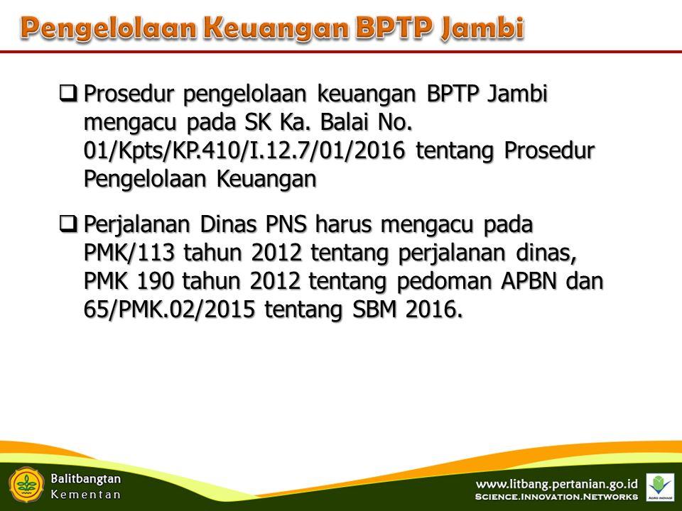  Prosedur pengelolaan keuangan BPTP Jambi mengacu pada SK Ka.