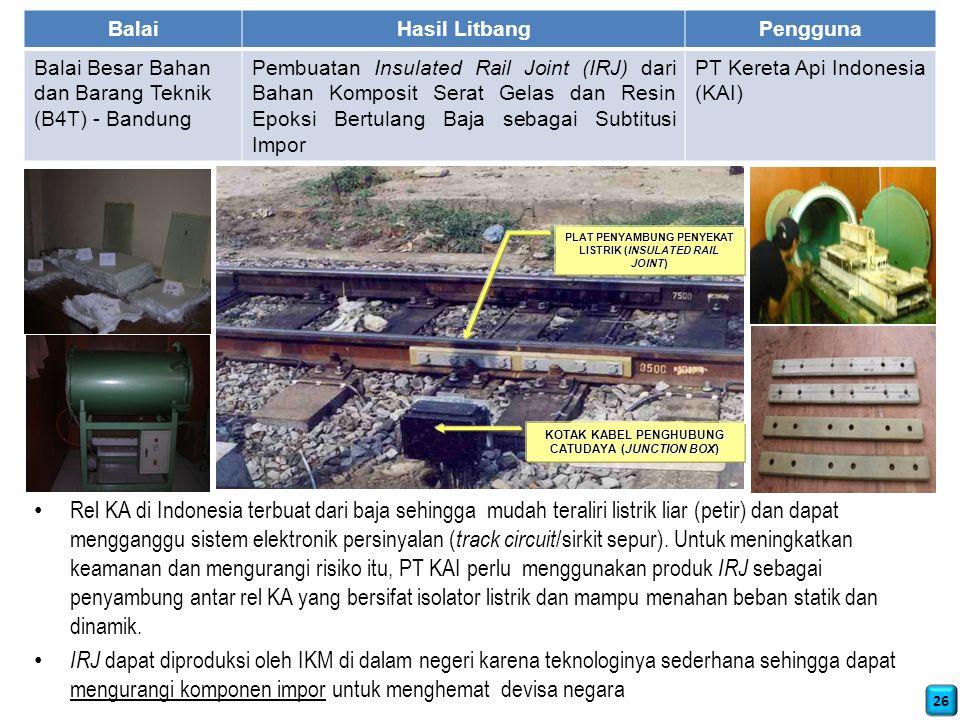 Rel KA di Indonesia terbuat dari baja sehingga mudah teraliri listrik liar (petir) dan dapat mengganggu sistem elektronik persinyalan ( track circuit /sirkit sepur).