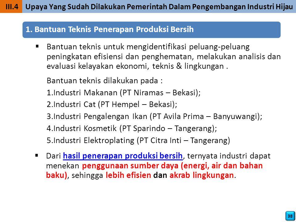 III.4 Upaya Yang Sudah Dilakukan Pemerintah Dalam Pengembangan Industri Hijau 38 1.