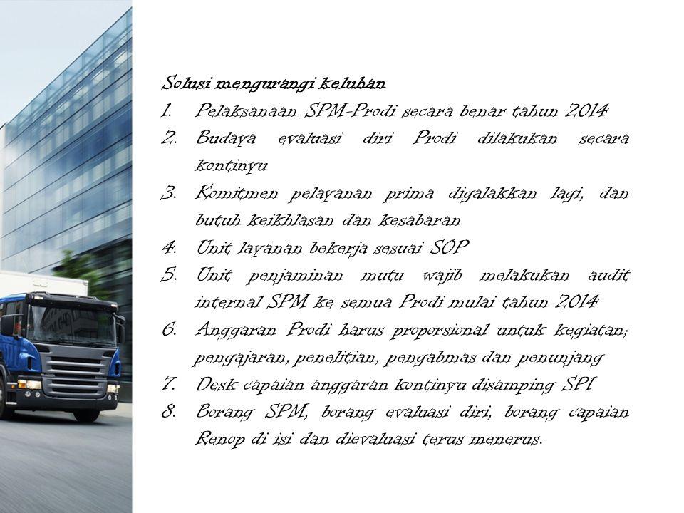 Solusi mengurangi keluhan 1.Pelaksanaan SPM-Prodi secara benar tahun 2014 2.Budaya evaluasi diri Prodi dilakukan secara kontinyu 3.Komitmen pelayanan prima digalakkan lagi, dan butuh keikhlasan dan kesabaran 4.Unit layanan bekerja sesuai SOP 5.Unit penjaminan mutu wajib melakukan audit internal SPM ke semua Prodi mulai tahun 2014 6.Anggaran Prodi harus proporsional untuk kegiatan; pengajaran, penelitian, pengabmas dan penunjang 7.Desk capaian anggaran kontinyu disamping SPI 8.Borang SPM, borang evaluasi diri, borang capaian Renop di isi dan dievaluasi terus menerus.