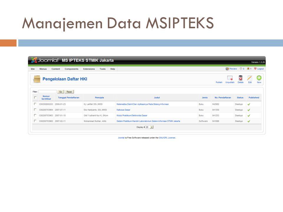 Manajemen Data MSIPTEKS