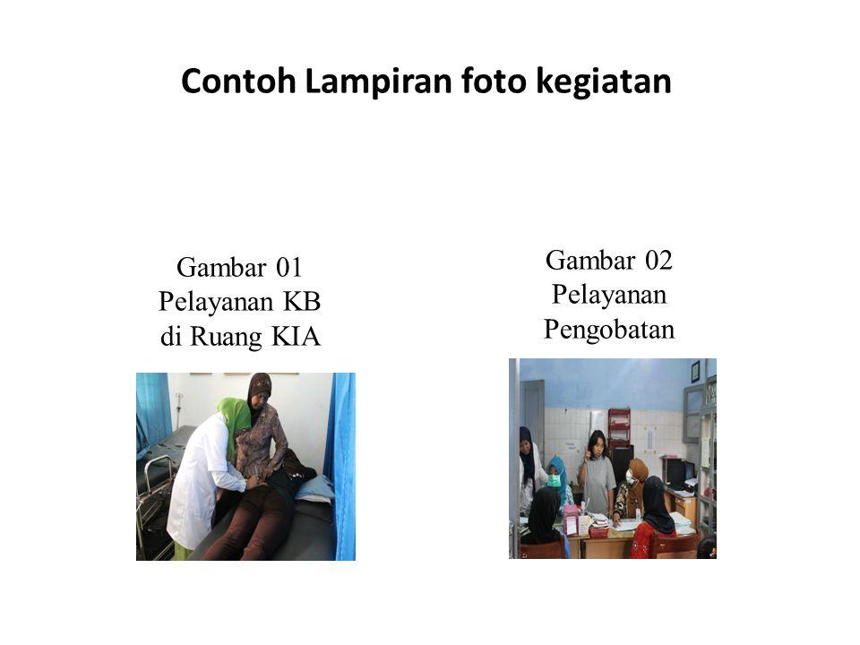 Contoh Lampiran foto kegiatan Gambar 01 Pelayanan KB di Ruang KIA Gambar 02 Pelayanan Pengobatan