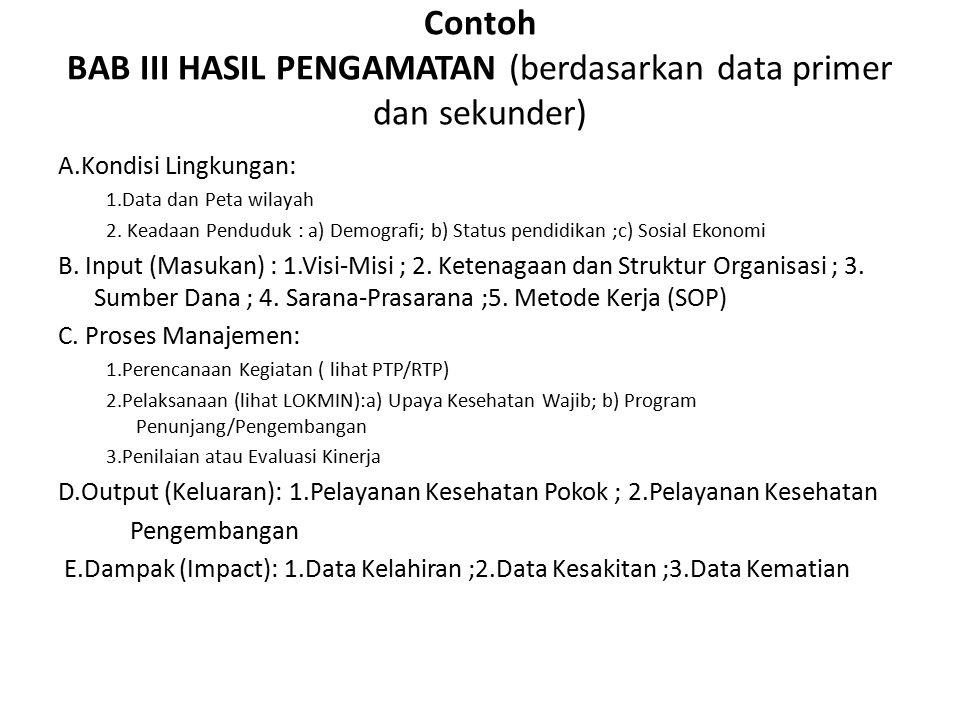 Contoh BAB III HASIL PENGAMATAN (berdasarkan data primer dan sekunder) A.Kondisi Lingkungan: 1.Data dan Peta wilayah 2.
