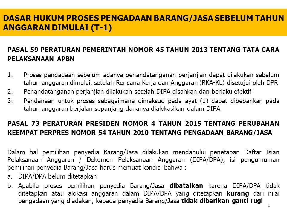 PASAL 73 PERATURAN PRESIDEN NOMOR 4 TAHUN 2015 TENTANG PERUBAHAN KEEMPAT PERPRES NOMOR 54 TAHUN 2010 TENTANG PENGADAAN BARANG/JASA Dalam hal pemilihan