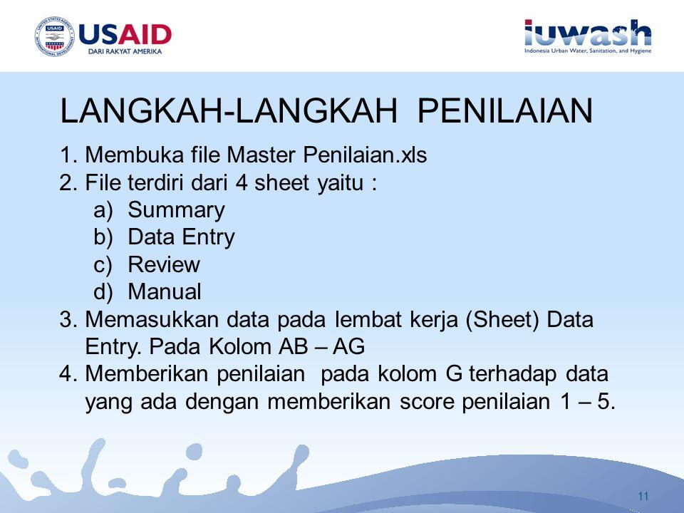 LANGKAH-LANGKAH PENILAIAN 1.Membuka file Master Penilaian.xls 2.File terdiri dari 4 sheet yaitu : a)Summary b)Data Entry c)Review d)Manual 3.Memasukkan data pada lembat kerja (Sheet) Data Entry.