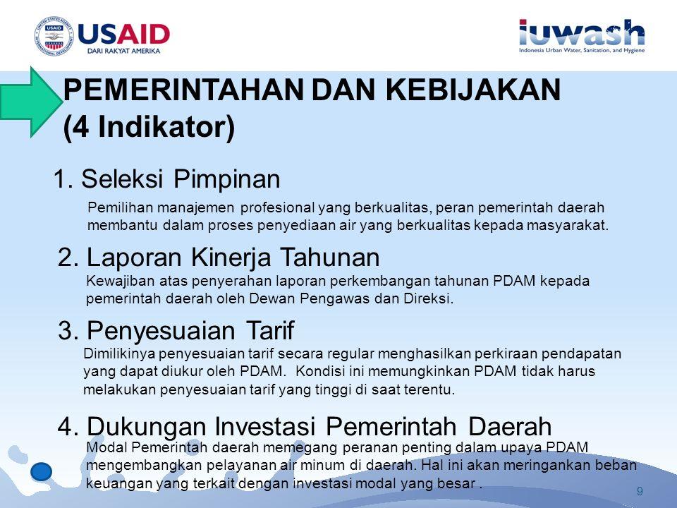 1. Seleksi Pimpinan Pemilihan manajemen profesional yang berkualitas, peran pemerintah daerah membantu dalam proses penyediaan air yang berkualitas ke