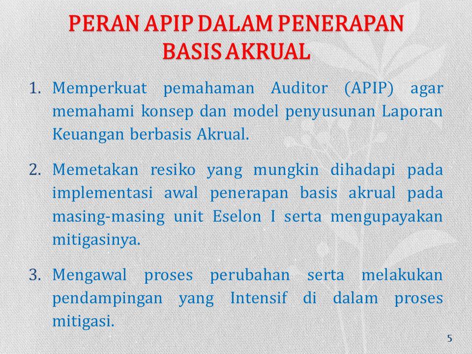 PERAN APIP DALAM PENERAPAN BASIS AKRUAL 1.Memperkuat pemahaman Auditor (APIP) agar memahami konsep dan model penyusunan Laporan Keuangan berbasis Akrual.