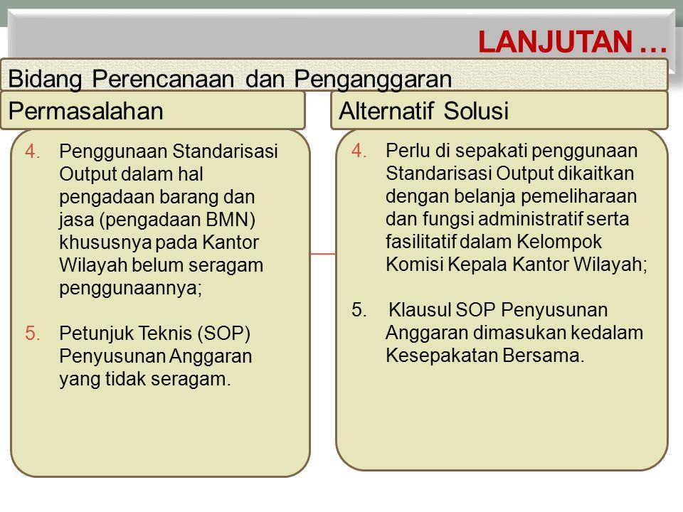 4.Penggunaan Standarisasi Output dalam hal pengadaan barang dan jasa (pengadaan BMN) khususnya pada Kantor Wilayah belum seragam penggunaannya; 5.Petunjuk Teknis (SOP) Penyusunan Anggaran yang tidak seragam.