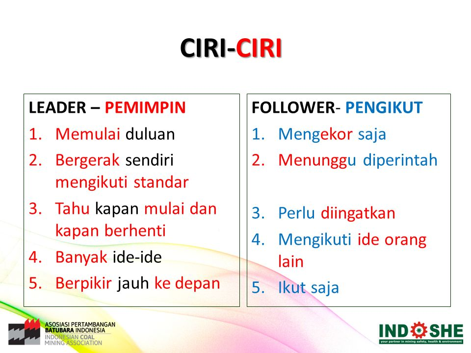 CIRI-CIRI LEADER – PEMIMPIN 1.Memulai duluan 2.Bergerak sendiri mengikuti standar 3.Tahu kapan mulai dan kapan berhenti 4.Banyak ide-ide 5.Berpikir ja