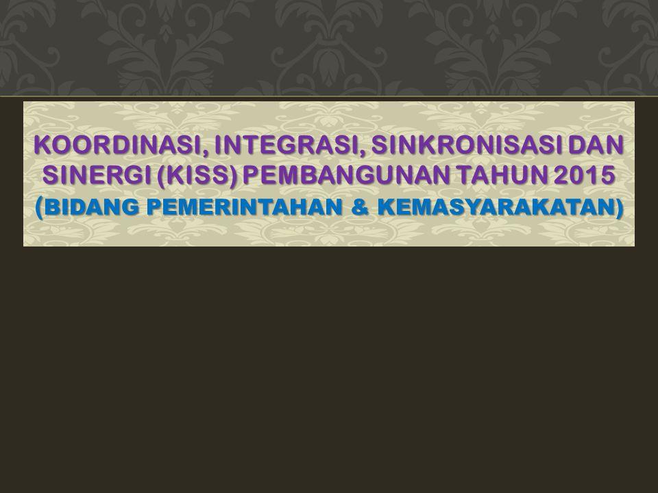 KOORDINASI, INTEGRASI, SINKRONISASI DAN SINERGI (KISS) PEMBANGUNAN TAHUN 2015 ( BIDANG PEMERINTAHAN & KEMASYARAKATAN)