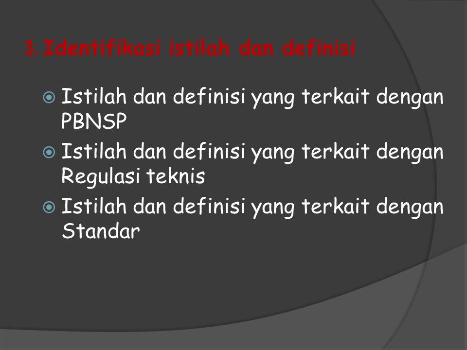 3. Identifikasi istilah dan definisi  Istilah dan definisi yang terkait dengan PBNSP  Istilah dan definisi yang terkait dengan Regulasi teknis  Ist