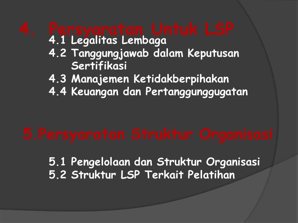 4.Persyaratan Untuk LSP 4.1 Legalitas Lembaga 4.2 Tanggungjawab dalam Keputusan Sertifikasi 4.3 Manajemen Ketidakberpihakan 4.4 Keuangan dan Pertanggu