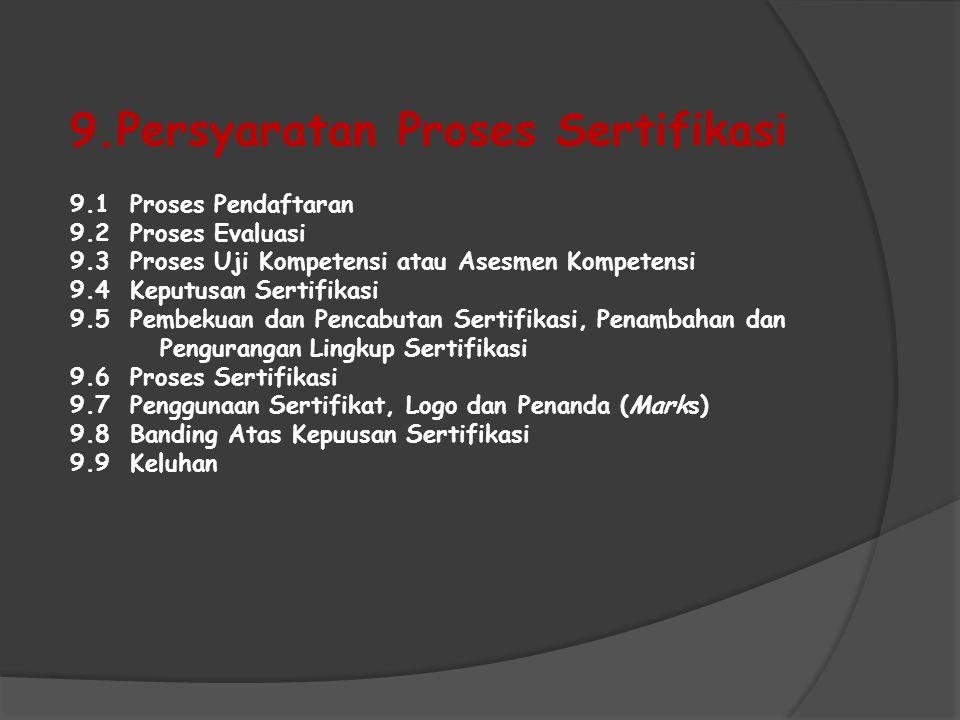 9.Persyaratan Proses Sertifikasi 9.1 Proses Pendaftaran 9.2 Proses Evaluasi 9.3 Proses Uji Kompetensi atau Asesmen Kompetensi 9.4 Keputusan Sertifikas