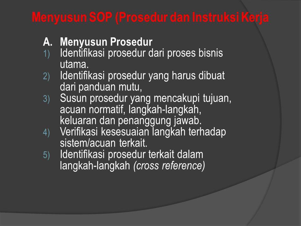 Menyusun SOP (Prosedur dan Instruksi Kerja A.Menyusun Prosedur 1) Identifikasi prosedur dari proses bisnis utama. 2) Identifikasi prosedur yang harus