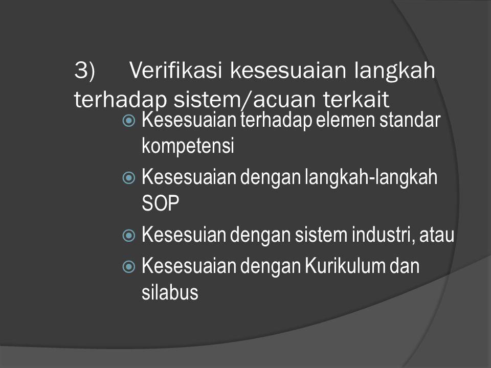 3) Verifikasi kesesuaian langkah terhadap sistem/acuan terkait  Kesesuaian terhadap elemen standar kompetensi  Kesesuaian dengan langkah-langkah SOP
