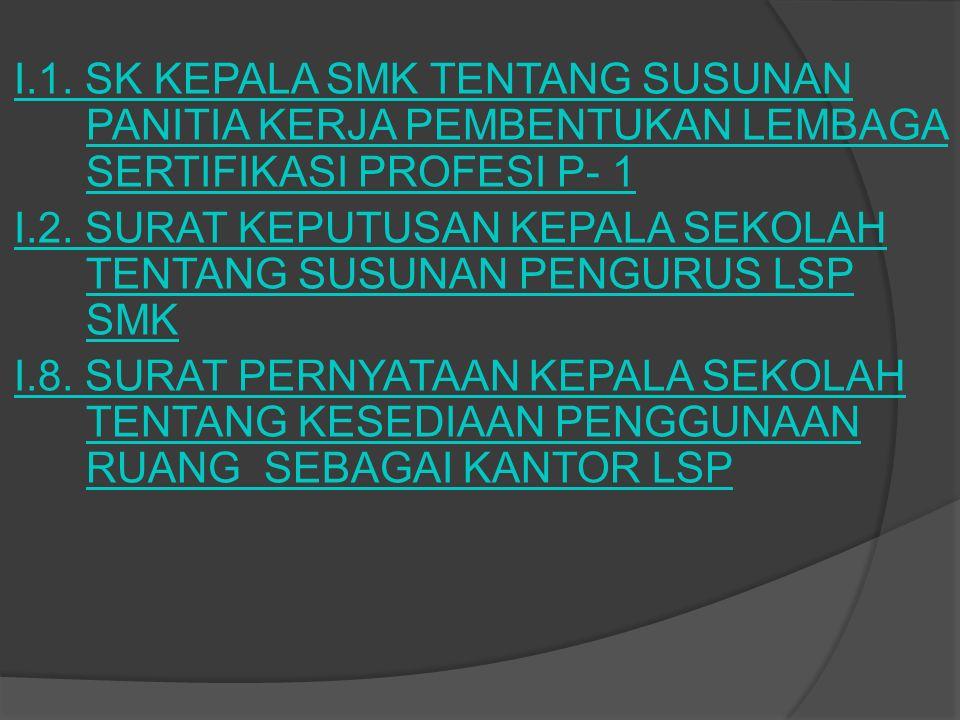 I.1. SK KEPALA SMK TENTANG SUSUNAN PANITIA KERJA PEMBENTUKAN LEMBAGA SERTIFIKASI PROFESI P- 1 I.2. SURAT KEPUTUSAN KEPALA SEKOLAH TENTANG SUSUNAN PENG