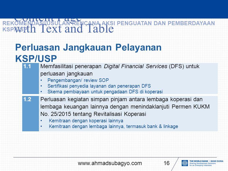 Content Page with Text and Table 16 Perluasan Jangkauan Pelayanan KSP/USP 1.1Memfasilitasi penerapan Digital Financial Services (DFS) untuk perluasan jangkauan Pengembangan/ review SOP Sertifikasi penyedia layanan dan penerapan DFS Skema pembiayaan untuk pengadaan DFS di koperasi REKOMENDASI/USULAN RENCANA AKSI PENGUATAN DAN PEMBERDAYAAN KSP/USP 1.2Perluasan kegiatan simpan pinjam antara lembaga koperasi dan lembaga keuangan lainnya dengan menindaklanjuti Permen KUKM No.