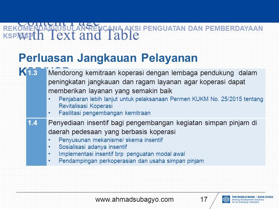 Content Page with Text and Table 17 Perluasan Jangkauan Pelayanan KSP/USP 1.3Mendorong kemitraan koperasi dengan lembaga pendukung dalam peningkatan jangkauan dan ragam layanan agar koperasi dapat memberikan layanan yang semakin baik Penjabaran lebih lanjut untuk pelaksanaan Permen KUKM No.