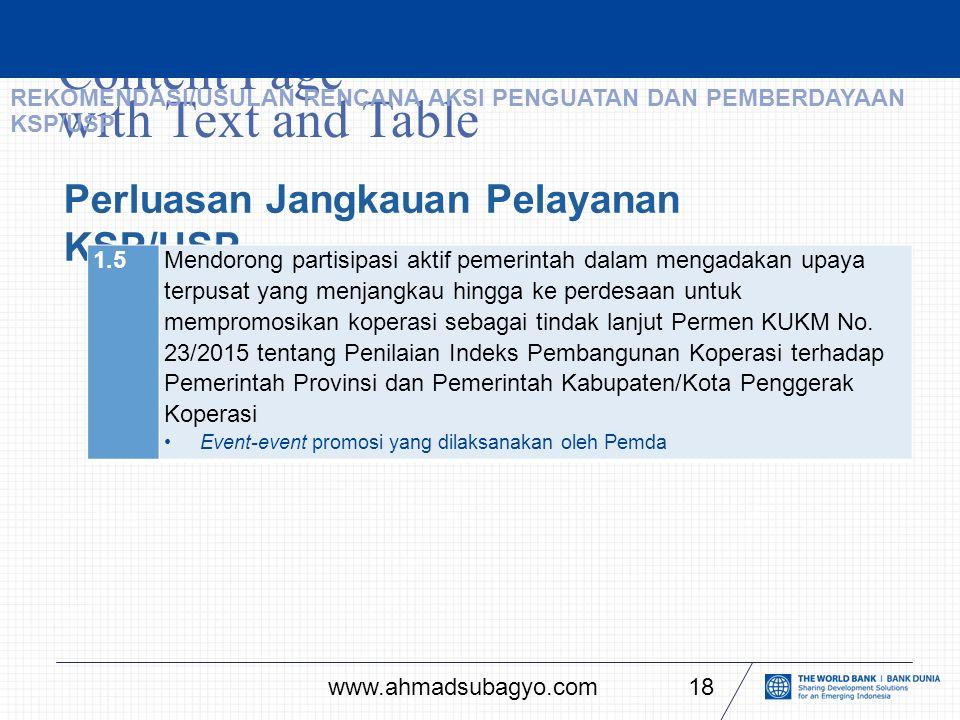Content Page with Text and Table 18 Perluasan Jangkauan Pelayanan KSP/USP 1.5Mendorong partisipasi aktif pemerintah dalam mengadakan upaya terpusat yang menjangkau hingga ke perdesaan untuk mempromosikan koperasi sebagai tindak lanjut Permen KUKM No.