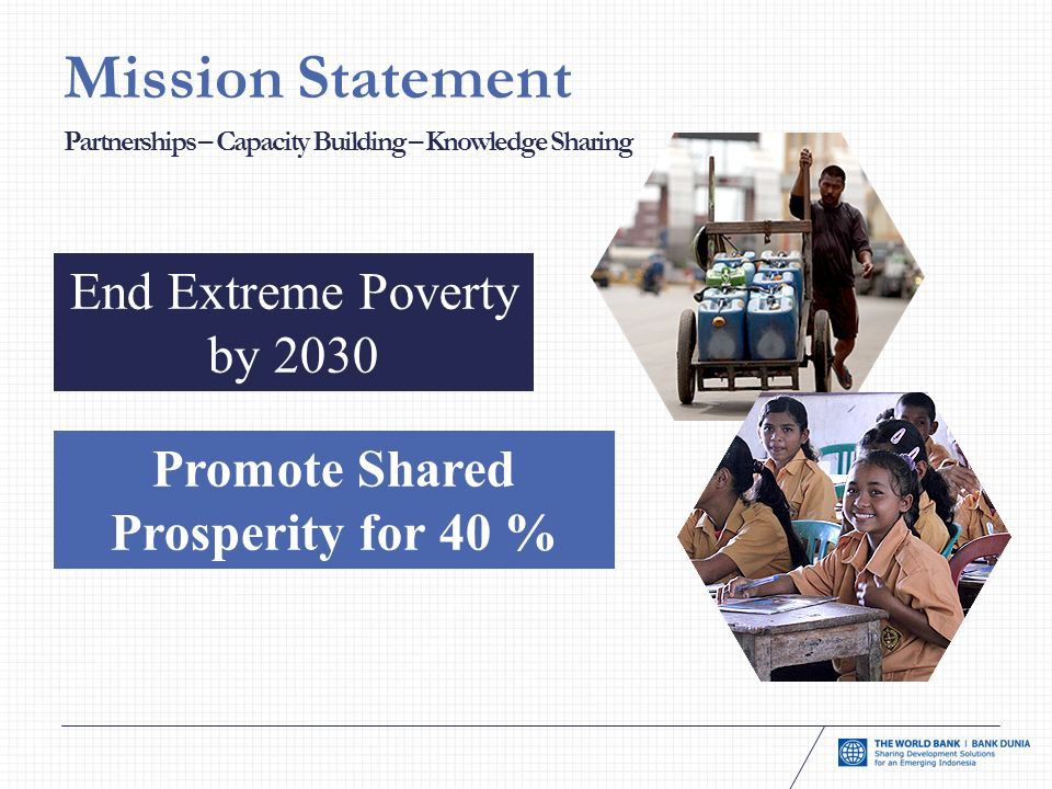 Mission Statement End Extreme Poverty by 2030 Promote Shared Prosperity for 40 % Partnerships – Capacity Building – Knowledge Sharing