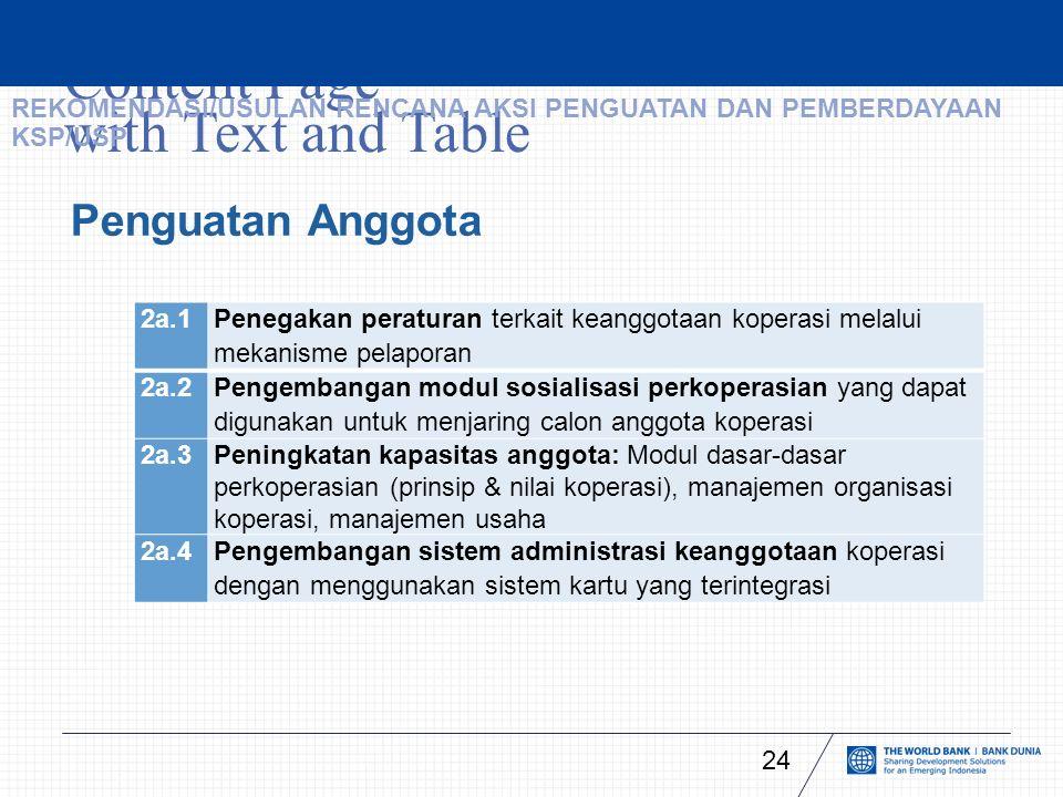 Content Page with Text and Table 24 Penguatan Anggota 2a.1 Penegakan peraturan terkait keanggotaan koperasi melalui mekanisme pelaporan 2a.2 Pengembangan modul sosialisasi perkoperasian yang dapat digunakan untuk menjaring calon anggota koperasi 2a.3 Peningkatan kapasitas anggota: Modul dasar-dasar perkoperasian (prinsip & nilai koperasi), manajemen organisasi koperasi, manajemen usaha 2a.4Pengembangan sistem administrasi keanggotaan koperasi dengan menggunakan sistem kartu yang terintegrasi REKOMENDASI/USULAN RENCANA AKSI PENGUATAN DAN PEMBERDAYAAN KSP/USP