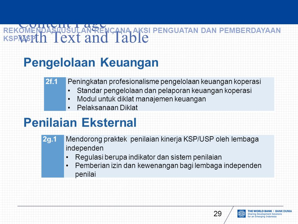 Content Page with Text and Table 29 Pengelolaan Keuangan 2f.1Peningkatan profesionalisme pengelolaan keuangan koperasi Standar pengelolaan dan pelapor