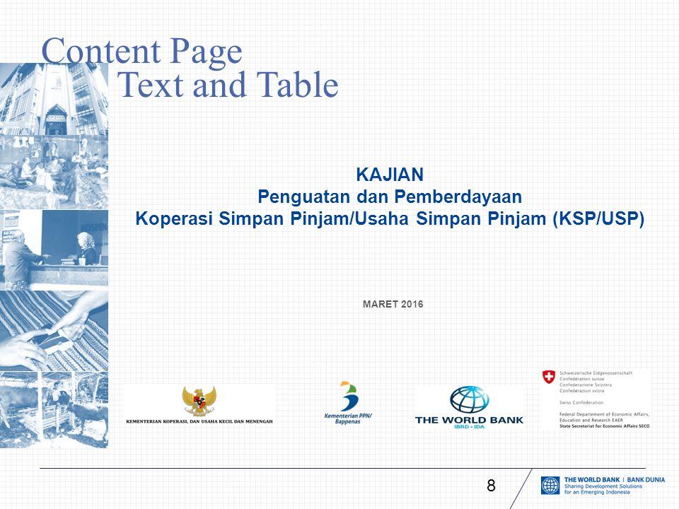 Content Page with Text and Table MARET 2016 KAJIAN Penguatan dan Pemberdayaan Koperasi Simpan Pinjam/Usaha Simpan Pinjam (KSP/USP) 8