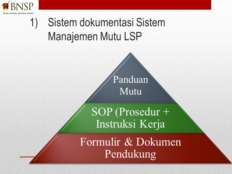 LT2.Mengembangkan Panduan Mutu Tetapkan sistem dokumentasi Sistem Manajemen Mutu LSP.
