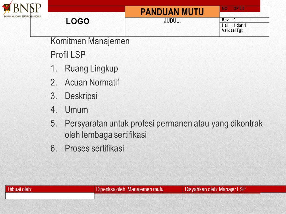 1)Sistem dokumentasi Sistem Manajemen Mutu LSP Panduan Mutu SOP (Prosedur + Instruksi Kerja Formulir & Dokumen Pendukung