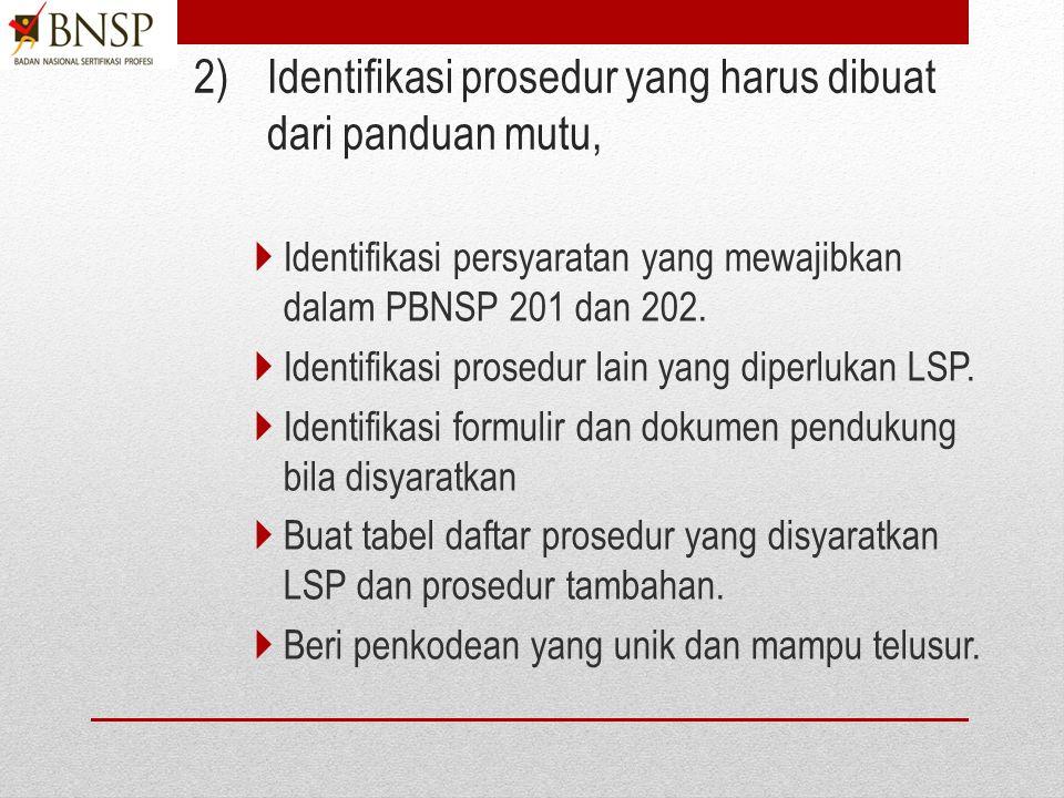 1) Identifikasi prosedur dari proses bisnis utama Identifikasi proses bisnis pelayanan asesmen dan sertifikasi. Identifikasi proses surveilan Identifi