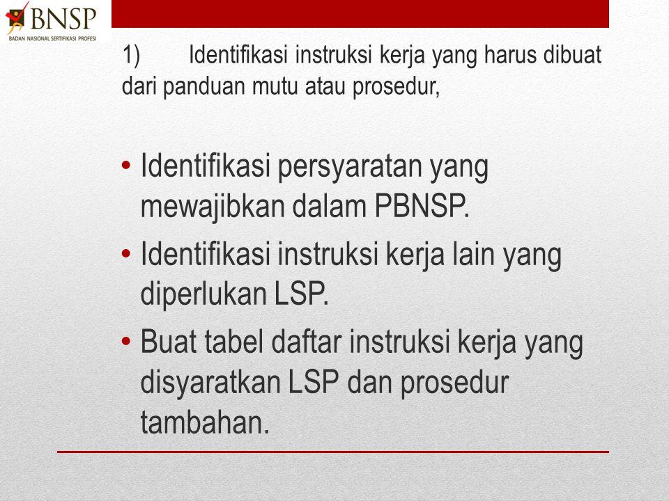 B.Menyusun Instruksi kerja 1)Identifikasi instruksi kerja yang harus dibuat dari panduan mutu atau prosedur, 2)Susun instruksi kerja yang mencakupi pe