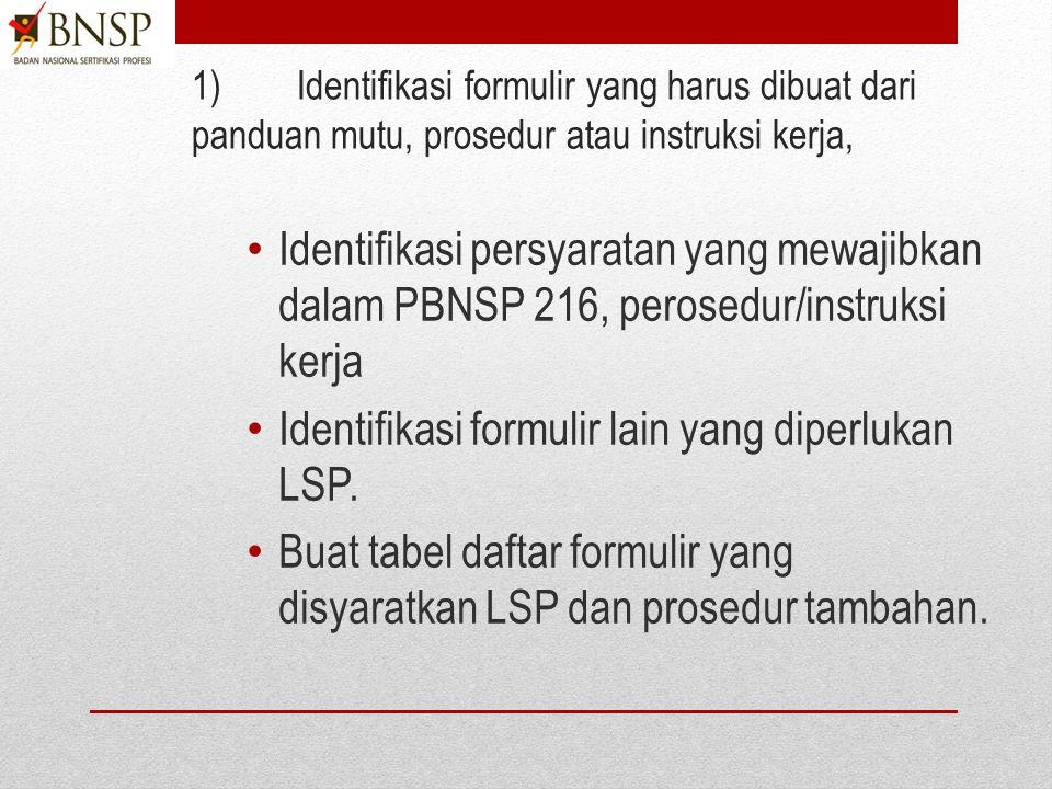 LT4.Menyusun Formulir 1)Identifikasi formulir yang harus dibuat dari panduan mutu, prosedur atau instruksi kerja, 2)Susun formulir yang mencakupi kegiatan- kegiatan yang harus direkam dalam formulir serta bila diperlukan memungkin peluang perbaikan.