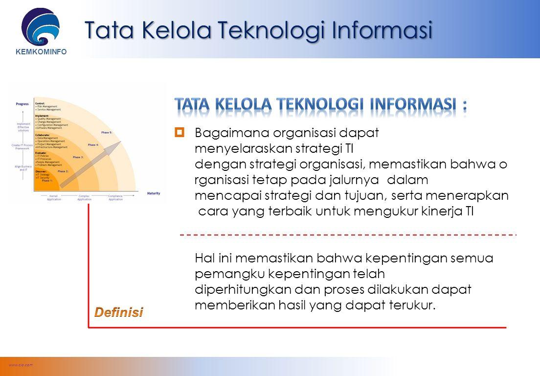 KEMKOMINFO Tata Kelola Teknologi Informasi www.cio.com  Bagaimana organisasi dapat menyelaraskan strategi TI dengan strategi organisasi, memastikan bahwa o rganisasi tetap pada jalurnya dalam mencapai strategi dan tujuan, serta menerapkan cara yang terbaik untuk mengukur kinerja TI Hal ini memastikan bahwa kepentingan semua pemangku kepentingan telah diperhitungkan dan proses dilakukan dapat memberikan hasil yang dapat terukur.
