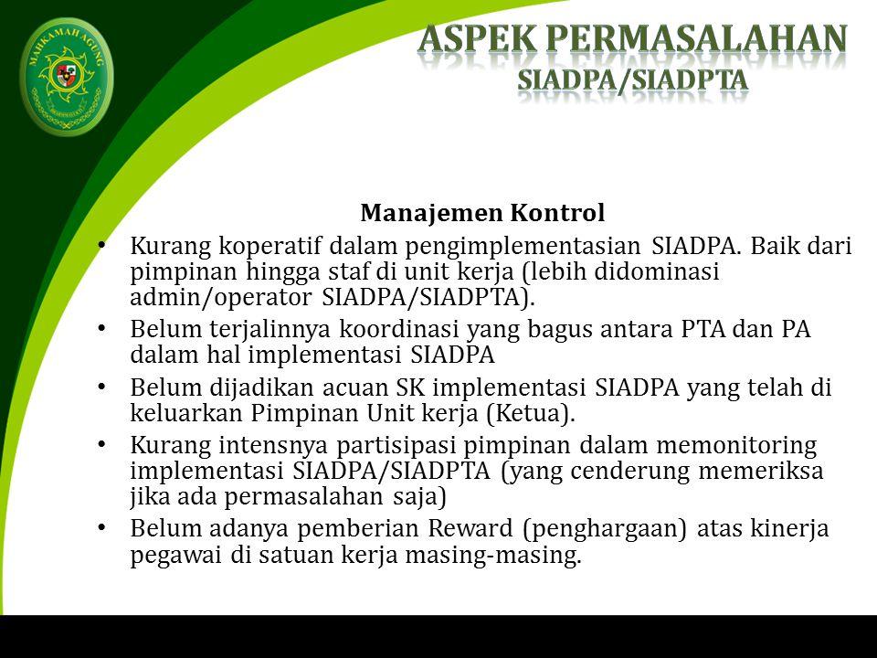 Manajemen Kontrol Kurang koperatif dalam pengimplementasian SIADPA.