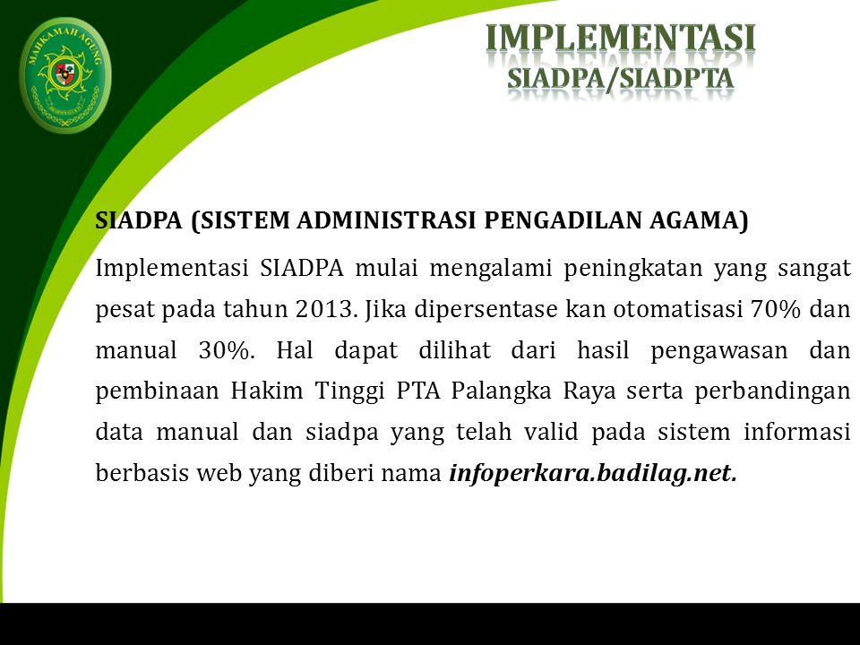 SIADPA (SISTEM ADMINISTRASI PENGADILAN AGAMA) Implementasi SIADPA mulai mengalami peningkatan yang sangat pesat pada tahun 2013.
