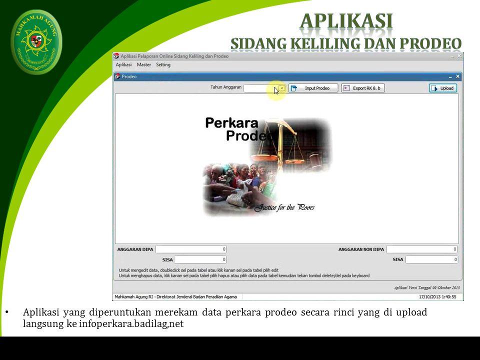 Aplikasi yang diperuntukan merekam data perkara prodeo secara rinci yang di upload langsung ke infoperkara.badilag,net