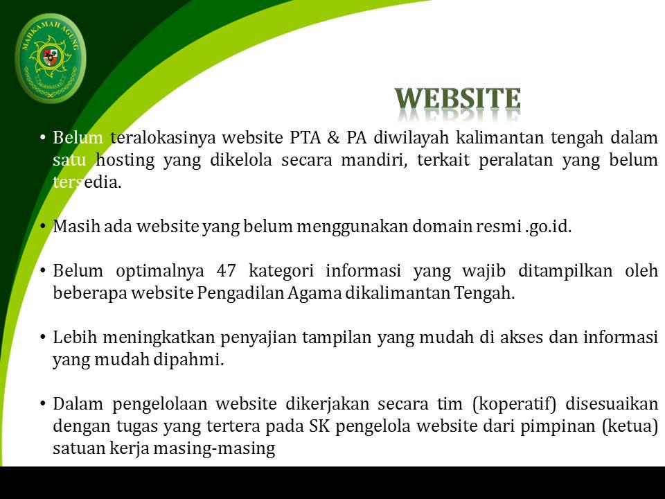 Belum teralokasinya website PTA & PA diwilayah kalimantan tengah dalam satu hosting yang dikelola secara mandiri, terkait peralatan yang belum tersedia.