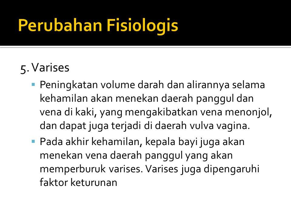 5. Varises  Peningkatan volume darah dan alirannya selama kehamilan akan menekan daerah panggul dan vena di kaki, yang mengakibatkan vena menonjol, d