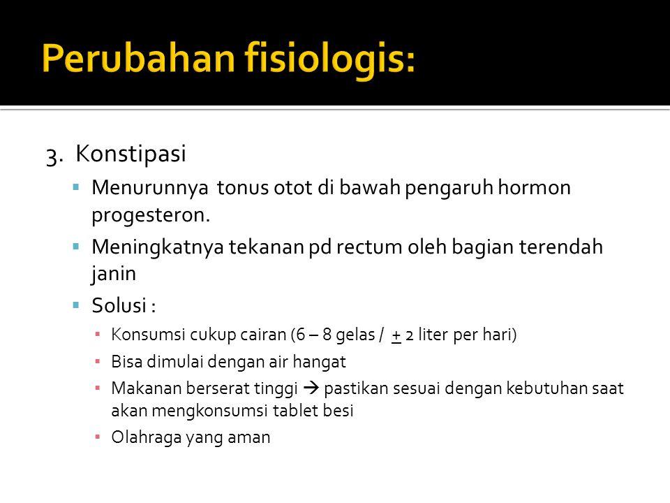 3. Konstipasi  Menurunnya tonus otot di bawah pengaruh hormon progesteron.