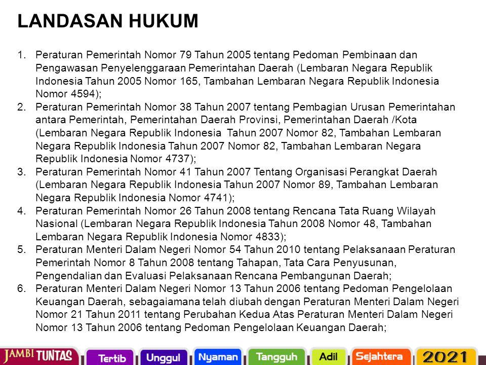 1.Peraturan Pemerintah Nomor 79 Tahun 2005 tentang Pedoman Pembinaan dan Pengawasan Penyelenggaraan Pemerintahan Daerah (Lembaran Negara Republik Indo