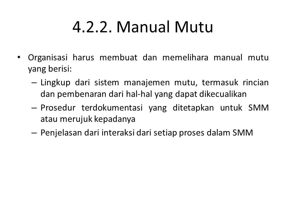 4.2.2. Manual Mutu Organisasi harus membuat dan memelihara manual mutu yang berisi: – Lingkup dari sistem manajemen mutu, termasuk rincian dan pembena