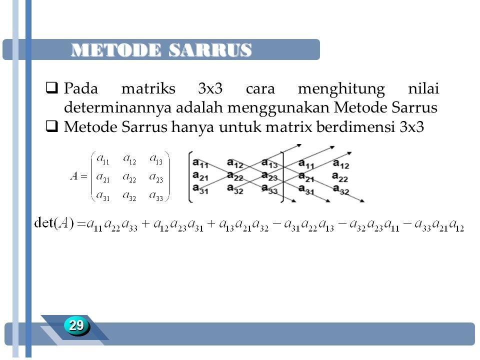 METODE SARRUS 2929  Pada matriks 3x3 cara menghitung nilai determinannya adalah menggunakan Metode Sarrus  Metode Sarrus hanya untuk matrix berdimen
